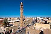 North Africa, Tunisia, Tozeur province, Tozeur, the Habib Bourguiba avenue dominated by El Ferdous mosque