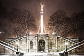 Angel of peace at night and snowdrift, Munich, Upper Bavaria, Bavaria, Germany