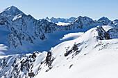 Schrankogl on the left, Bachfallenkopf and Gruene Tatzen below, Bachfallenferner glacier in center, view from Hoher Seeblaskogl, Sellrain, Innsbruck, Tyrol, Austria