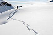 Backcountry skier underneath Schoentalspitz, Sellrain, Innsbruck, Tyrol, Austria