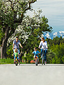 Family cycling, Upper Bavaria, Germany