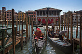 Traghetto gondola crossing the Grand Canal, Venice, Veneto, Italy, Europe