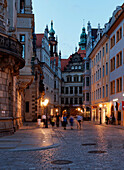 Residential Palace, Brühl's Lane and Georgenbau in the evening, Dresden, Saxony, Germany, Europe