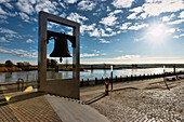Peace bell as a historical monument for the Oder-Neisse border at the Oder promenade, Frankfurt/Oder, Land Brandenburg, Germany, Europe