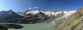 Panorama of Gauli glacier and lake Gaulisee, lake Gaulisee, UNESCO World Heritage Site Swiss Alps Jungfrau-Aletsch, Bernese Alps, Bernese Oberland, Bern, Switzerland