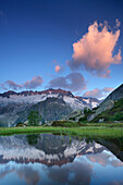 Dammastock reflecting in a mountain lake, Dammastock, Urner Alps, Uri, Switzerland