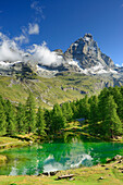 Matterhorn reflecting in a mountain lake, Cervinia, Breuil, Pennine Alps, Aosta valley, Italy