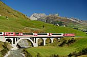 Glacier Express, Matterhorn Gotthard railway, pass Furkapass, Andermatt, Uri, UNESCO World Heritage Site Rhaetian Railway, Rhaetian Railway, Switzerland
