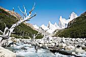 Wildbach am Fitz Roy Massiv, El Chalten, Patagonien, Argentinien