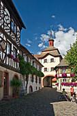 Town gate at Burkheim, Kaiserstuhl, Baden-Wuerttemberg, Germany, Europe