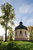 Backlit chapel Josefskapelle, Sigmaringen, Swabian Alp, Baden-Wuerttemberg, Germany, Europe