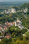 View of Isteiner Klotz and the village of Efringen-Kirchen, Markgraeflerland, Black Forest, Baden-Wuerttemberg, Germany, Europe