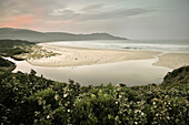 Cloudy Bay, beach and sea with river, Bruny Island around Hobart, Tasmania, Australia