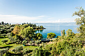 View towards Gardasee and the Parco Baia delle Sirene, Lago di Garda, Province of Verona, Northern Italy, Italy