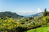 View towards Garda and Lago di Garda, Province of Verona, Northern Italy, Italy