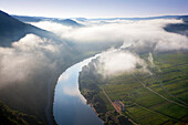 View from the vineyard Bremmer Calmont to Stuben monastery, near Bremm, Mosel river, Rhineland-Palatinate, Germany