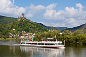 Excursion ship, Reichsburg near Cochem, Mosel river, Rhineland-Palatinate, Germany
