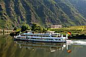 Excursion ship, Stuben monastery, near Bremm, Mosel river, Rhineland-Palatinate, Germany