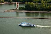 Excursion ship near the Mouse Tower, near Bingen, Rhine river, Rhineland-Palatinate, Germany