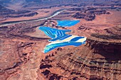 United States, Utah , The Moab or Cane Creek potash mine , Shafer Basin , evaporation ponds , muriate of potash , Cobalt blue dye is added to the water to aid in the absorption of sunlight and evaporation and gives it the striking blue colour