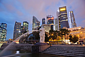 Asia, Singapore, Merlion, Merlion Statue, City Skyline, Cityscape, Skyscrapers, Modern Buildings, Hi_rise, Night View, Night Lights, Illumination, Tourism, Holiday, Vacation, Travel. Asia, Singapore, Merlion, Merlion Statue, City Skyline, Cityscape, Skysc