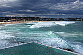 Festival of, wind, dragons, kites, aircraft, fun, Bondi Beach, Sydney, beach, seashore, steering dragon, wind, waves, clouds, party, fête, family, Australia, New South Wales, bright, sky, pool, water, swim, sombre, gloomy, Bondi of mountain Ice club, cult