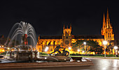 Archibald Fountain, Hyde park, Saint Mary´s Cathedral, Sydney, New South Wales, Australia, well, cathedral, church, places of interest, night, park, water, lighting, investigation,. Archibald Fountain, Hyde park, Saint Mary´s Cathedral, Sydney, New South