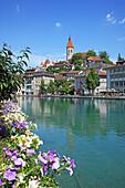 Travel, Geography, Architecture, Culture, Europe, Switzerland, Bern, Thun, Town, Castle, Church, Lake, Vertical. Travel, Geography, Architecture, Culture, Europe, Switzerland, Bern, Thun, Town, Castle, Church, Lake, Vertical