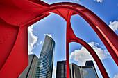 France, Europe, travel, Paris, City, La Defense, Square, Alexander Calder, structure, architecture, art, big, buildings, Calder, defense, new, red, skyline, skyscrapers,. France, Europe, travel, Paris, City, La Defense, Square, Alexander Calder, structure