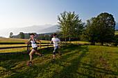 Trailrunning, Trail running, Trail, Ramsau, Dachstein, Styria, Austria, couple, woman, man, meadow, running, walking, run, jogging, sport, fitness, health,. Trailrunning, Trail running, Trail, Ramsau, Dachstein, Styria, Austria, couple, woman, man, meadow