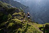Trailrunning, Trail running, Trail, Ramsau, Dachstein, Styria, Austria, couple, woman, man, meadow, running, walking, run, mountains, mountain run, jogging, sport, fitness, health,. Trailrunning, Trail running, Trail, Ramsau, Dachstein, Styria, Austria, c