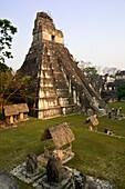 Temple I, Grand Jaguar, at sunset. Tikal, Petén, Guatemala.