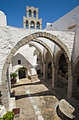 europe, greece, dodecanese, patmos island, chora, monastery of saint john theologian, arcade of the church front