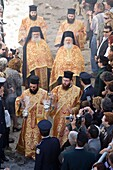 europe, greece, dodecanese, patmos island, chora, orthodox easter time, holy thursday, representation of the last supper