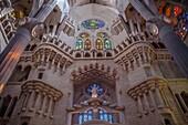 Interior of Basilica Sagrada Familia,transept, Barcelona, Catalonia, Spain