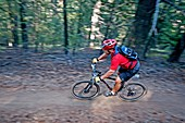 David Weber mountain biking the Cold Springs Trail on Bald Mountain at Sun Valley Resort near the cities of Ketchum and Sun Valley in central Idaho