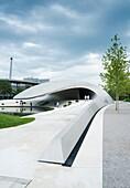 New ultra modern Porsche Pavilion at Autostadt or Auto City in Wolfsburg Germany, Architect Henn