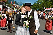 Switzerland, Canton Bern, Interlaken, festival in the 1st of August, kiss