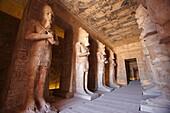 The hypostyle hall of the Great Temple, with Osiris pillars, Abu Simbel, Aswan, Egypt