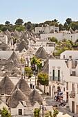 Panoramic view of trulli houses, Alberobello, province of Bari, in the Puglia region, Italy