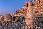 Mount Nemrut sanctuary, Heads of Antiochus, Zeus and Tyche, Ruins of the Commagene civilization, 1st century B C , Mount Nemrut, Eastern Turkey