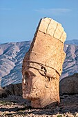 Mount Nemrut sanctuary, Statues on the western terrace, Ruins of the Commagene civilization, 1st century B C , Mount Nemrut, Eastern Turkey