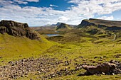 View from The Quiraing, a landslip on the eastern face of Meall na Suiramach over Loch Leum na Luirginn and Loch Cleat, the northernmost summit of the Trotternish Ridge on the Isle of Skye, Scotland, United Kingdom, Europe
