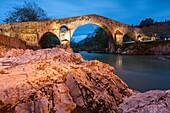 Puente Romano Roman Bridge, 13th century, Cangas de Onís  Asturias, Spain