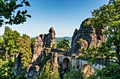 Spectacular rock formation Bastei Bastion and Bastei Bridge It is one of the most visited tourist attractions in the Saxon Switzerland, municipality Lohmen, Saxony, Germany, Europe