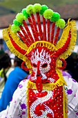 """A man dancer in a colorful costume performs Aya Uma, the creature from the Indian myths, during the Inti Raymi celebration in Pichincha province, Ecuador, 27 June 2010  Inti Raymi, """"Festival of the Sun"""" in Quechua language, is an ancient spiritual ceremon"""