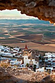 Views of the turbines and Teba, from castle ruins  Teba, Malaga, Andalusia, Spain