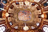 Fresh on the roof of main hall of Upper Belvedere Carlone trompe l´oeil ceiling on the subject of the glory of Prince Eugene  Vienna, Austria