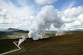 Pipelines at Krafla Geothermal Power Plant, Iceland