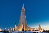 Christmas time, Hallgrimskirkja Church with statue of Leif Eriksson , Reykjavik Iceland